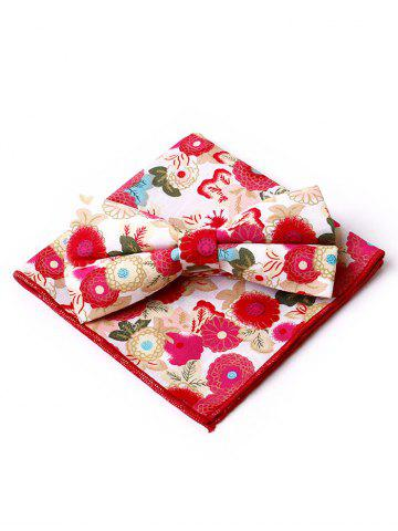 Buy Floral Pattern Embellished Bow Tie and Handkerchief