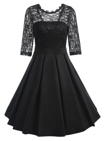 Chic Lace Panel Fit and Flare Dress