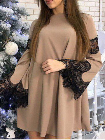 Best Flare Sleeve Lace Panel Shift Dress