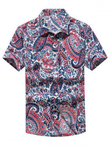 New Paisley Print Casual Short Sleeve Shirt