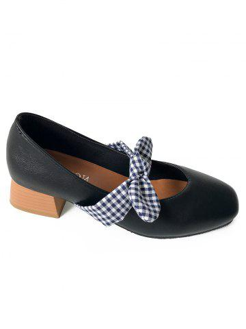 Affordable Plaid Bowknot Square Toe Pumps
