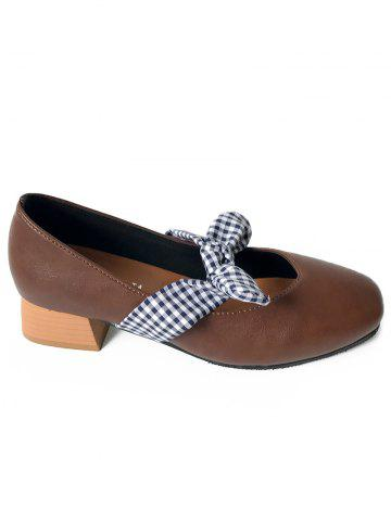 Online Plaid Bowknot Square Toe Pumps