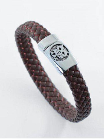Outfit PU Leather Rope Engraved Tiger Braid Bracelet