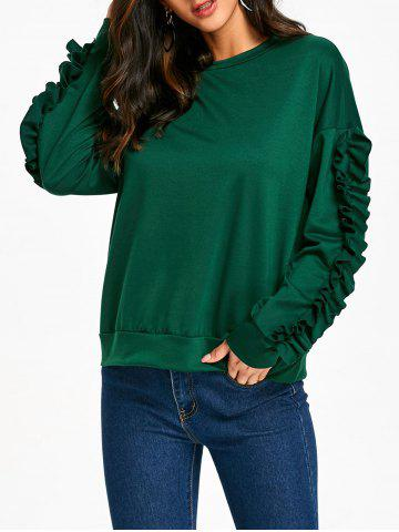Shop Ruffles Sleeve Drop Shoulder Sweatshirt