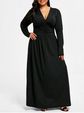 Shops Plus Size Plunging Ruched Maxi Dress