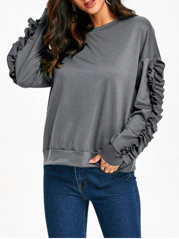 Shops Ruffles Sleeve Drop Shoulder Sweatshirt