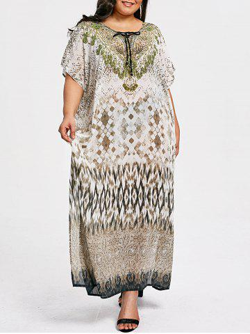 Chic Plus Size Lace Up Illusion Print Kaftan Dress