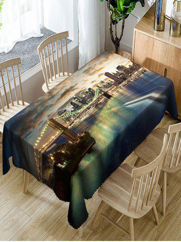 Fashion Prosperous City and Bridge Night Print Table Cloth