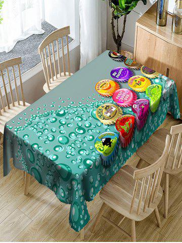 Fancy Bottle Caps Printed Waterproof Polyester Table Cloth