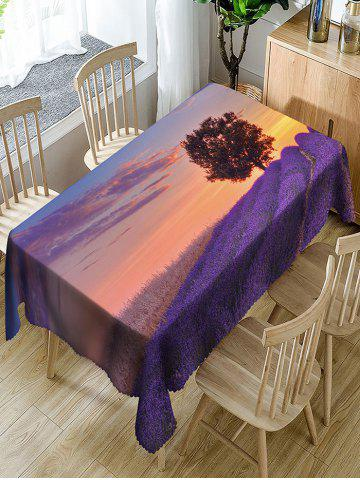 Fancy Lavender Fields and Tree Printed Waterproof Table Cloth