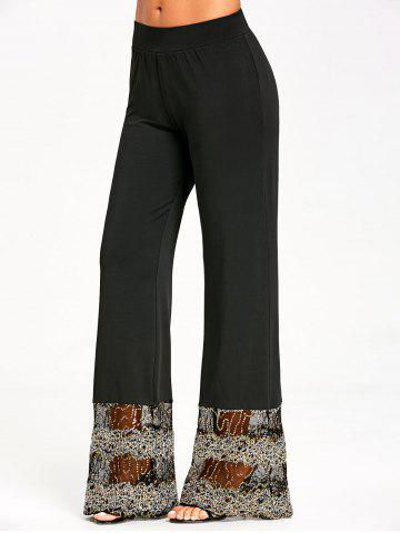 Cheap Lace Sequins Trim Straight Pants