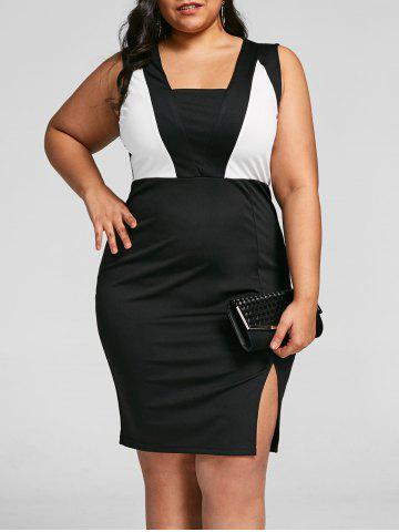 Affordable Plus Size Two Tone Slit Bodycon Dress