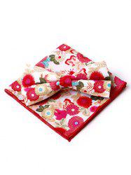 Floral Pattern Embellished Bow Tie and Handkerchief -