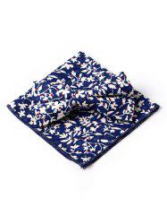 Floral Petal Pattern Formal Bow Tie and Square Handkerchief -