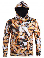 Sweat-shirt à capuche imprimé cigarette 3D -