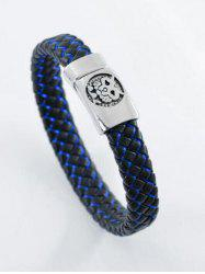 PU Leather Rope Engraved Tiger Braid Bracelet -