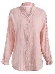 Plus Size Lace Applique Long Sleeve Shirt -