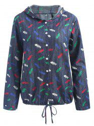 Plus Size Fish Print Long Sleeve Shirt -