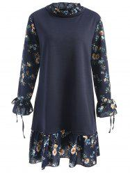 Plus Size Floral Panel Neck Floral Dress -