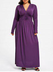 Plus Size Plunging Ruched Maxi Dress -