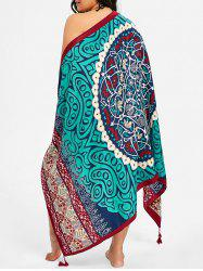 Tassel Ethnic Flower Print Beach Throw -