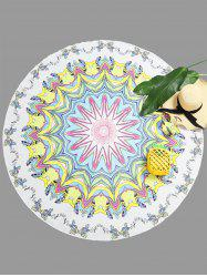 Mandala Floral Print Round Beach Throw -