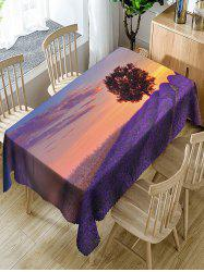 Lavender Fields and Tree Printed Waterproof Table Cloth -
