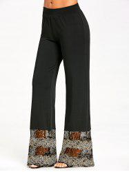 Lace Sequins Trim Straight Pants -