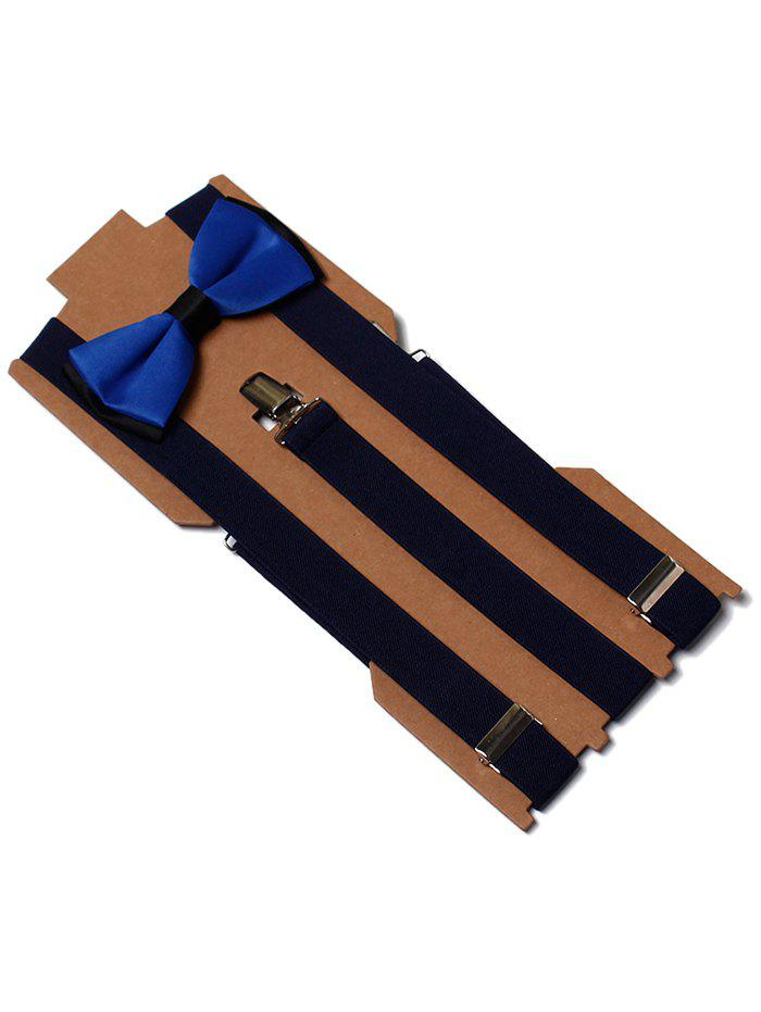 Discount Solid Color Formal Business Bow Tie Suspender Set