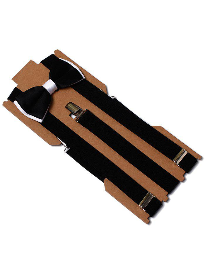 Latest Solid Color Formal Business Bow Tie Suspender Set