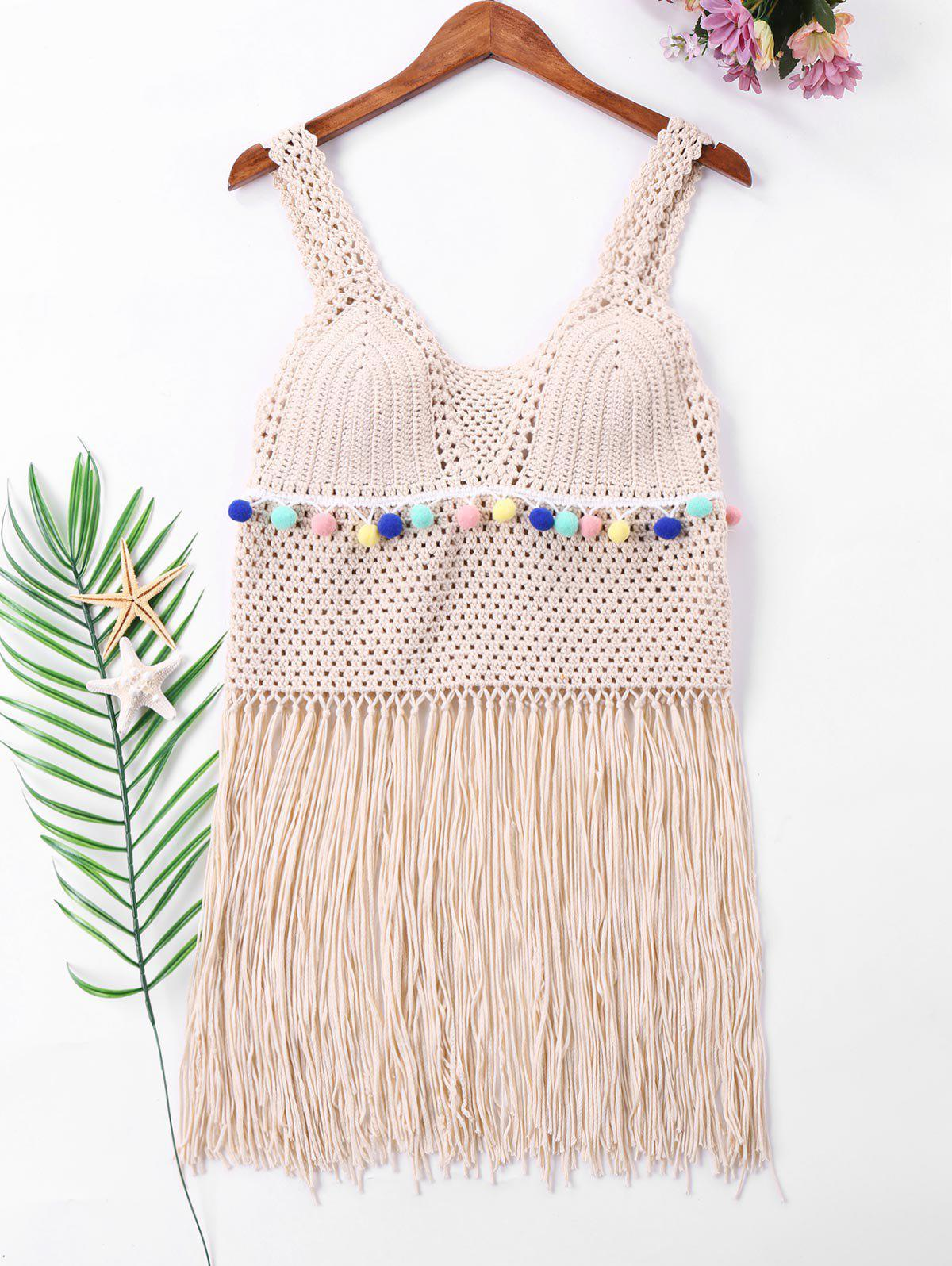 7e594bcbc70 43% OFF] Crochet Fringe Cover Up Top | Rosegal