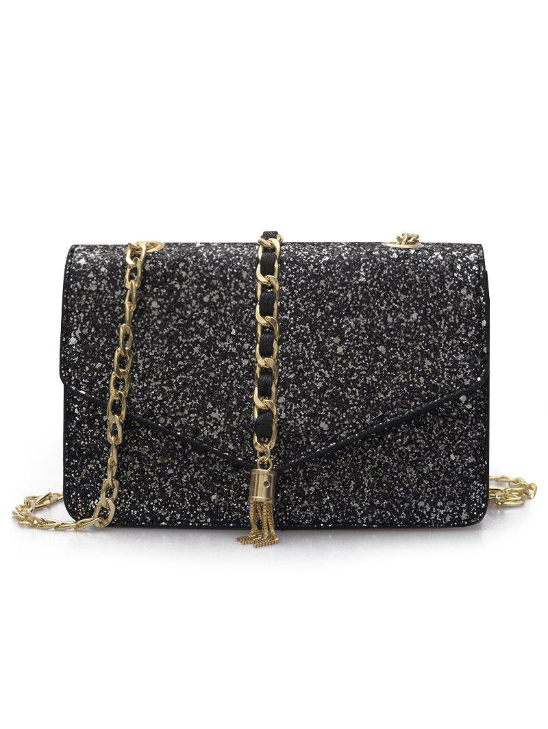 Discount Sequined Shimmer Flap Crossbody Bag