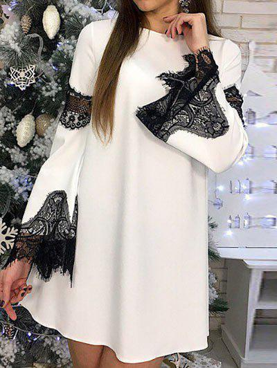 Affordable Flare Sleeve Lace Panel Shift Dress
