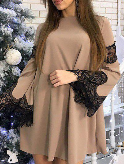 Online Flare Sleeve Lace Panel Shift Dress