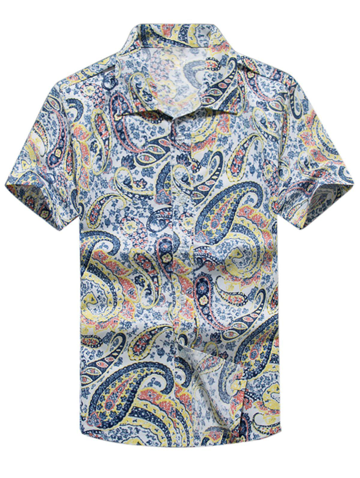 Discount Paisley Print Casual Short Sleeve Shirt