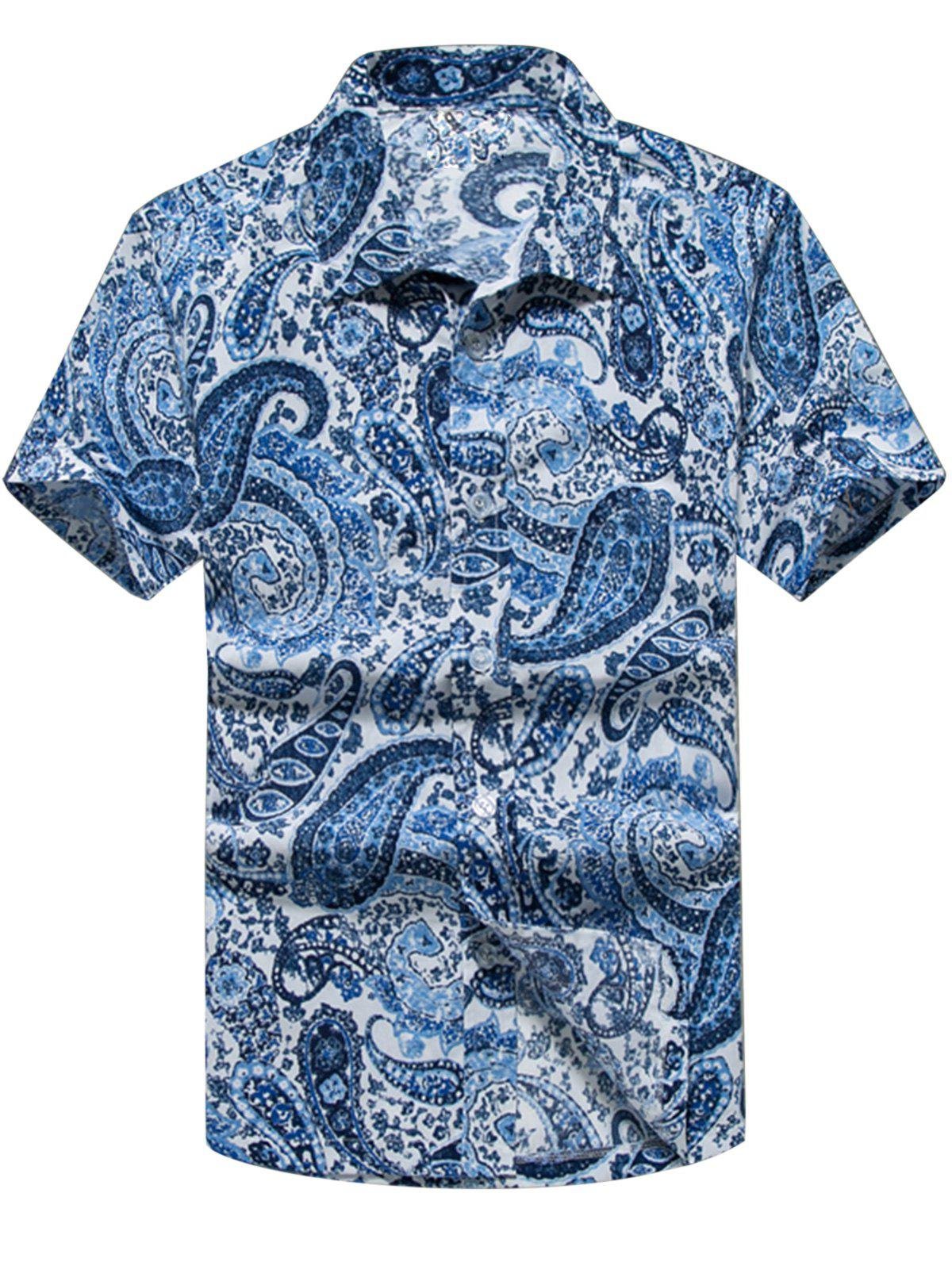 Best Paisley Print Casual Short Sleeve Shirt