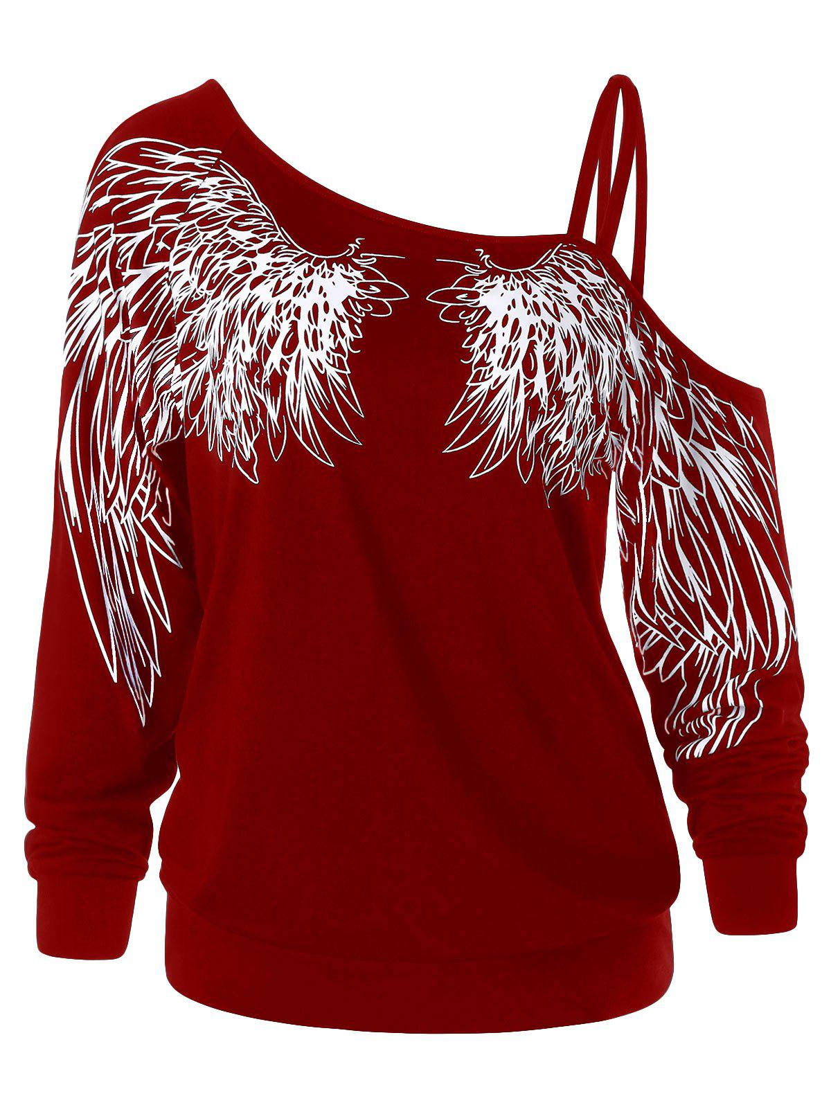 Chic Long Sleeve One Shoulder Wing Print Top