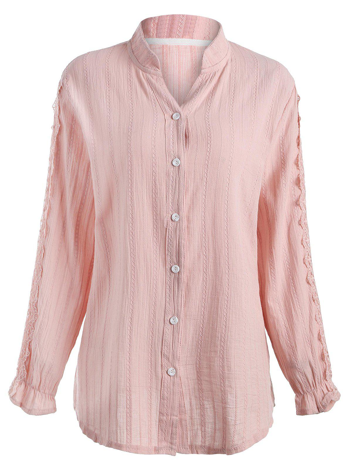 Latest Plus Size Lace Applique Long Sleeve Shirt
