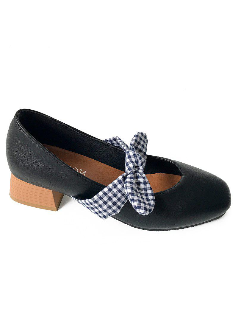 Chic Plaid Bowknot Square Toe Pumps