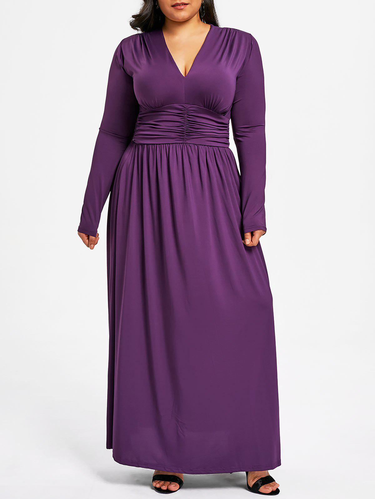 Discount Plus Size Plunging Ruched Maxi Dress