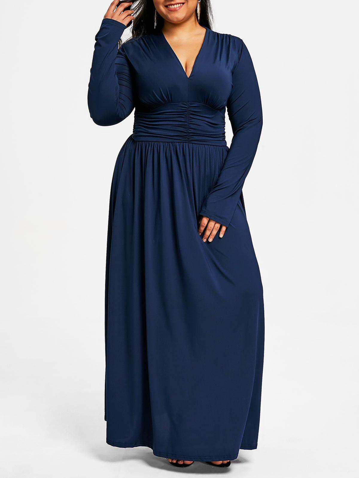 Affordable Plus Size Plunging Ruched Maxi Dress