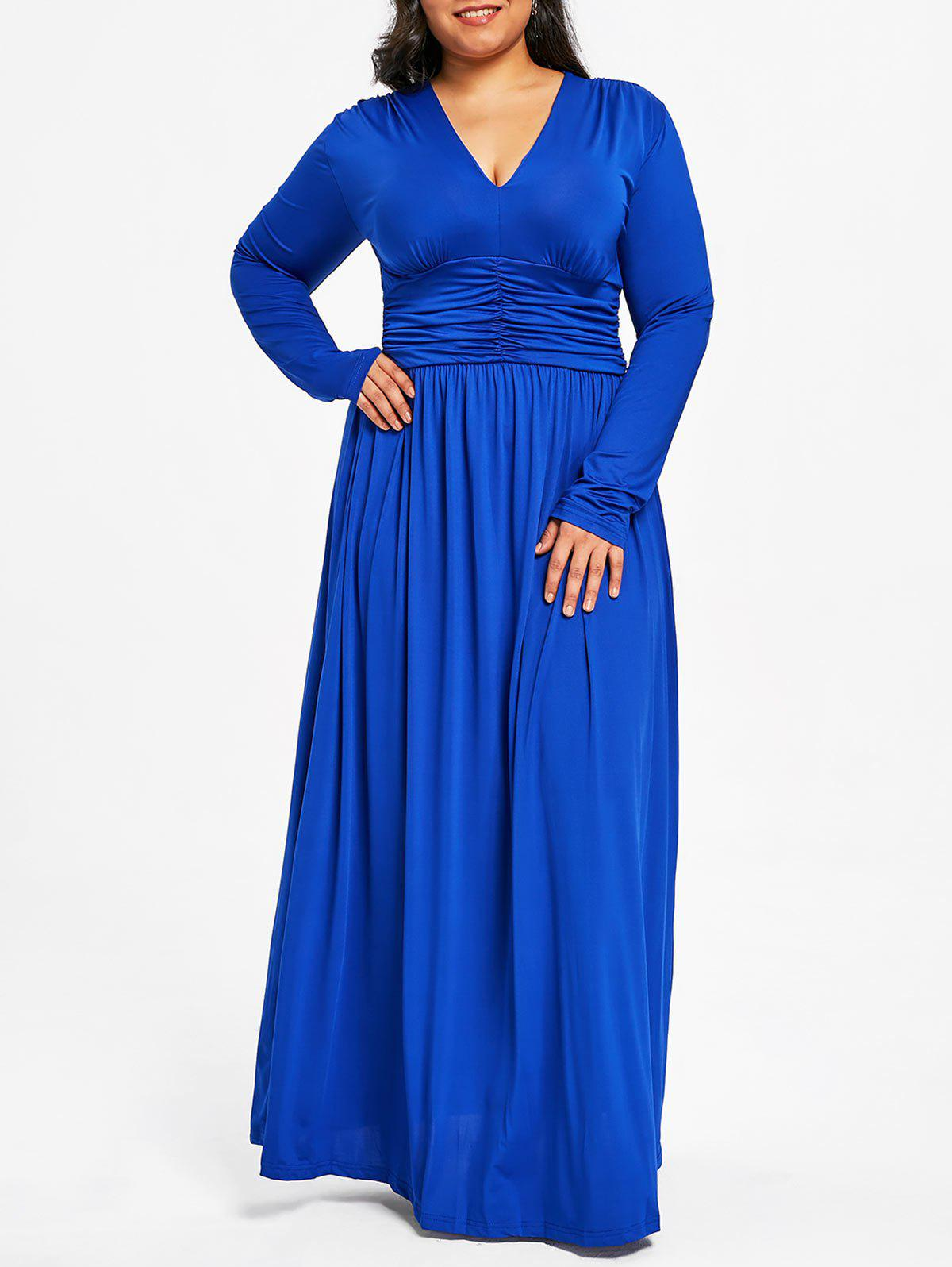 Fashion Plus Size Plunging Ruched Maxi Dress