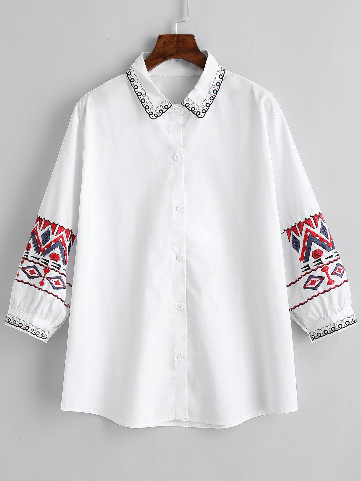 Outfit Ethnic Plus Size Geometric Embroidery Shirt