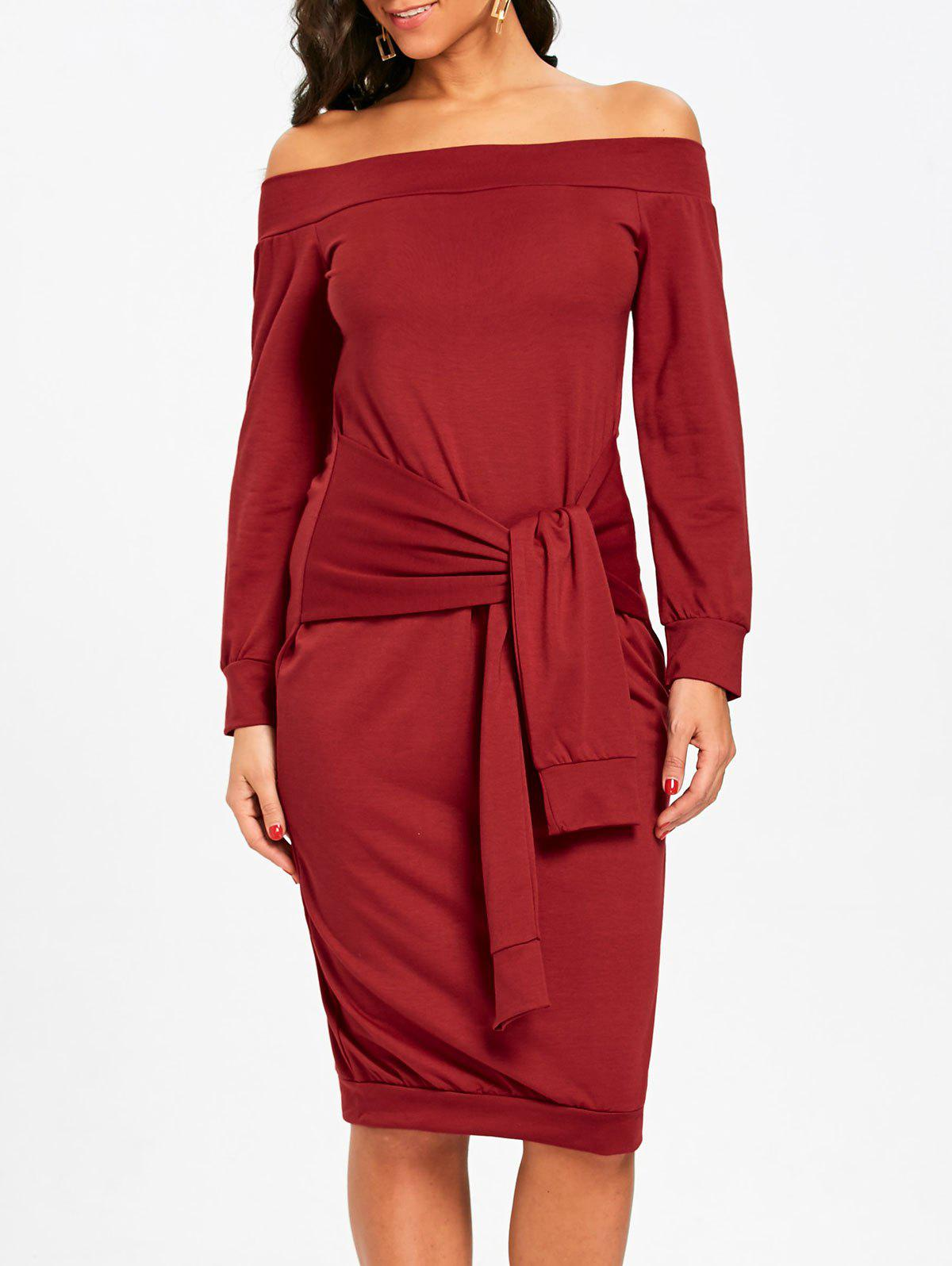 Discount Off The Shoulder Tie Waist Sweatshirt Dress