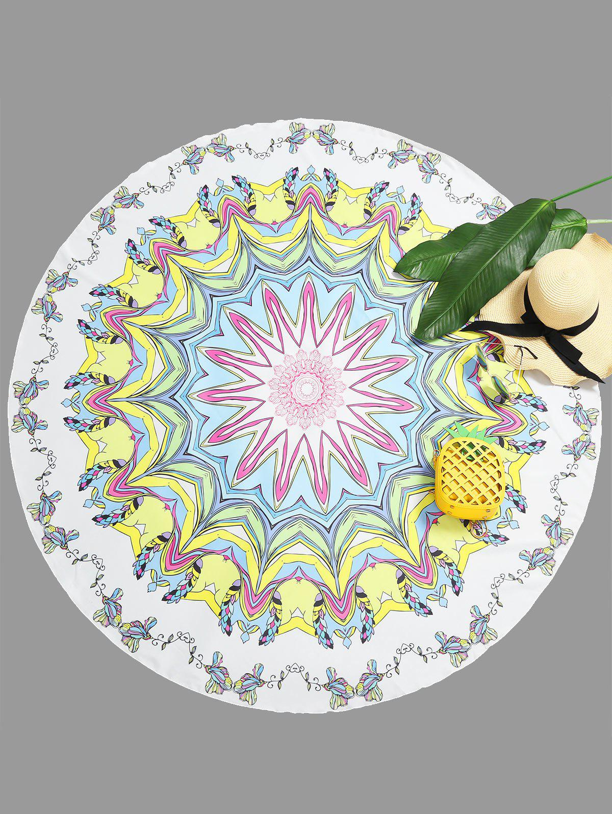 Cheap Mandala Floral Print Round Beach Throw