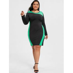 Hit Color Plus Size Tight Dress -