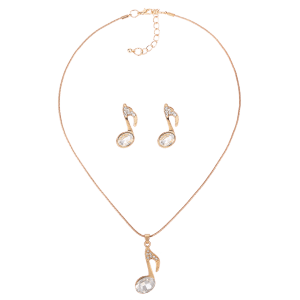 Rhinestone Inlay Music Notes Earrings and Necklace Jewelry Set -