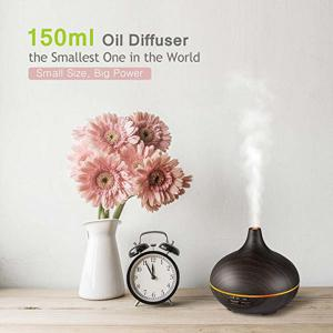 VicTsing 150ml Color Lights Wood Grain Cool Mist Humidifier Aroma Diffuser -