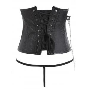 Brocade Chains Zipped Punk Corset with G-string -