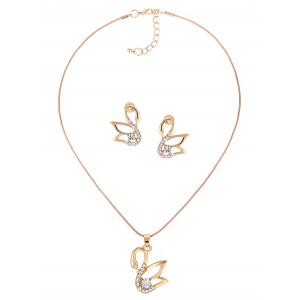 Swan Hollow Out Diamante Pendant Necklace and Earrings Set -